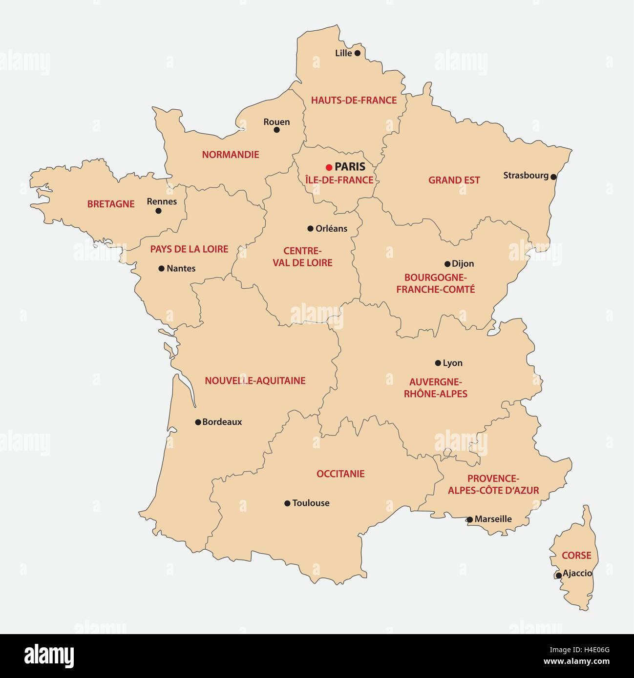 Regioni Francia Cartina.Mappa Amministrativa Delle 13 Regioni Della Francia Dal 2016 Immagine E Vettoriale Alamy