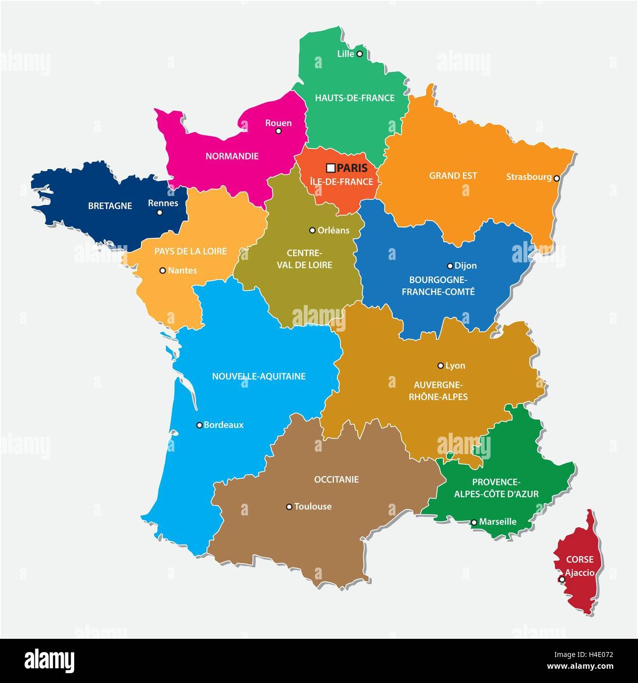 Regioni Della Francia Cartina.Mappa Amministrativa Delle 13 Regioni Della Francia Dal 2016 Immagine E Vettoriale Alamy
