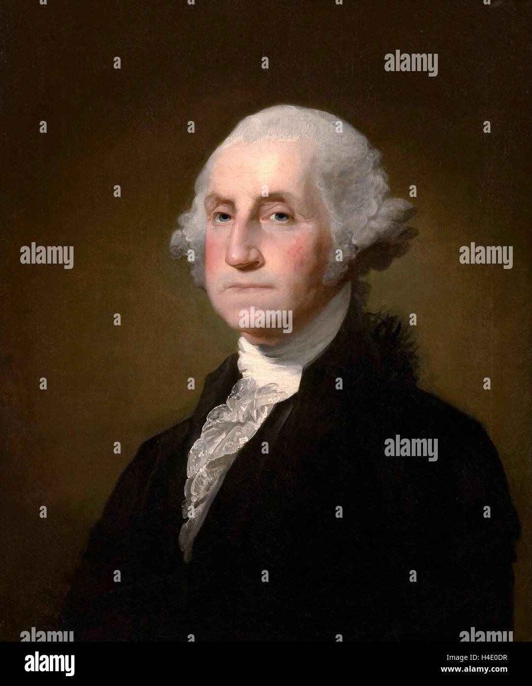 George Washington. Ritratto del Presidente degli Stati Uniti George Washington da Gilbert Stuart, 1797 Immagini Stock