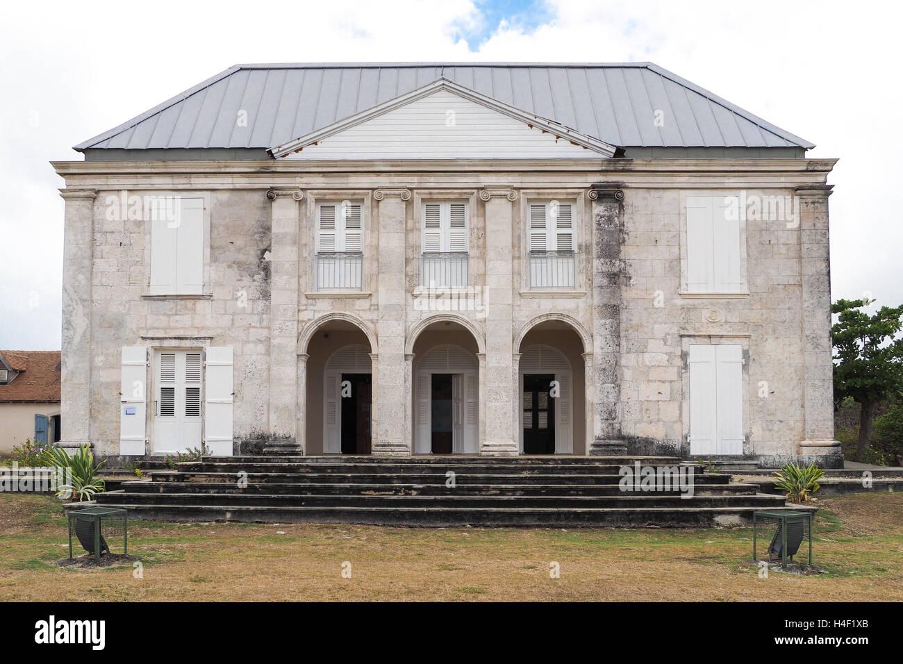 La facciata della dimora murat di Marie Galante, antica casa degli schiavi e la fabbrica di zucchero Immagini Stock