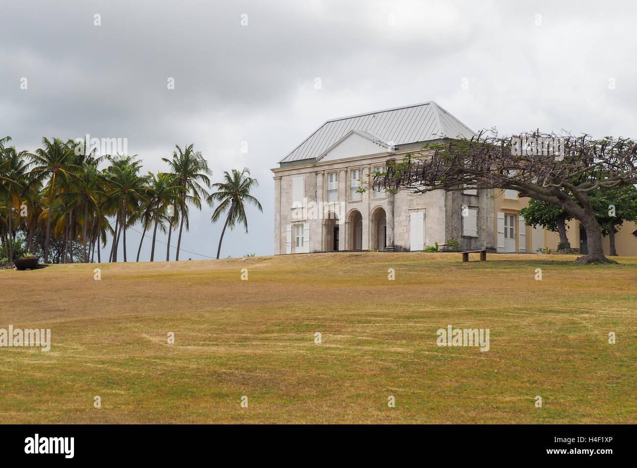 La facciata della dimora murat e il giardino di Marie Galante, antica casa degli schiavi e la fabbrica di zucchero Immagini Stock