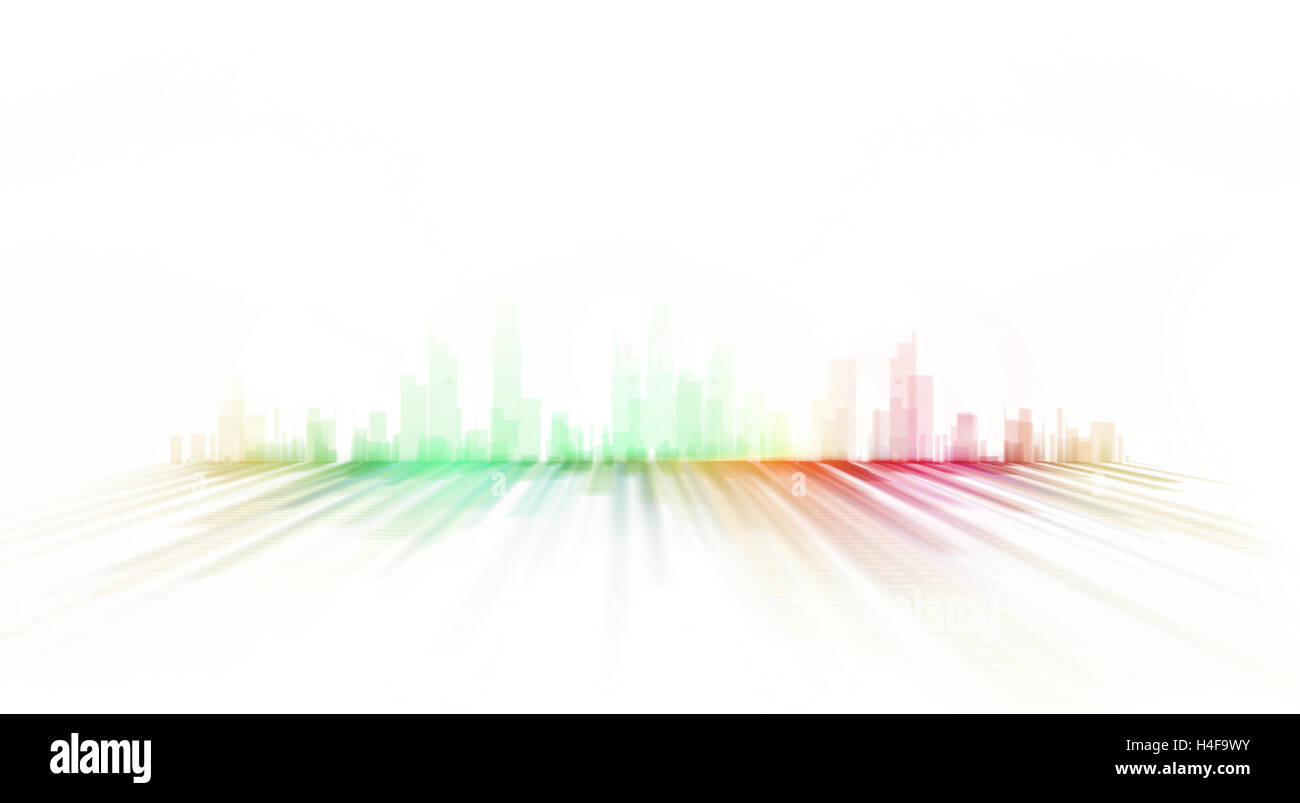 Lo skyline della citta' illustrazione - graphic design verniciatura Immagini Stock