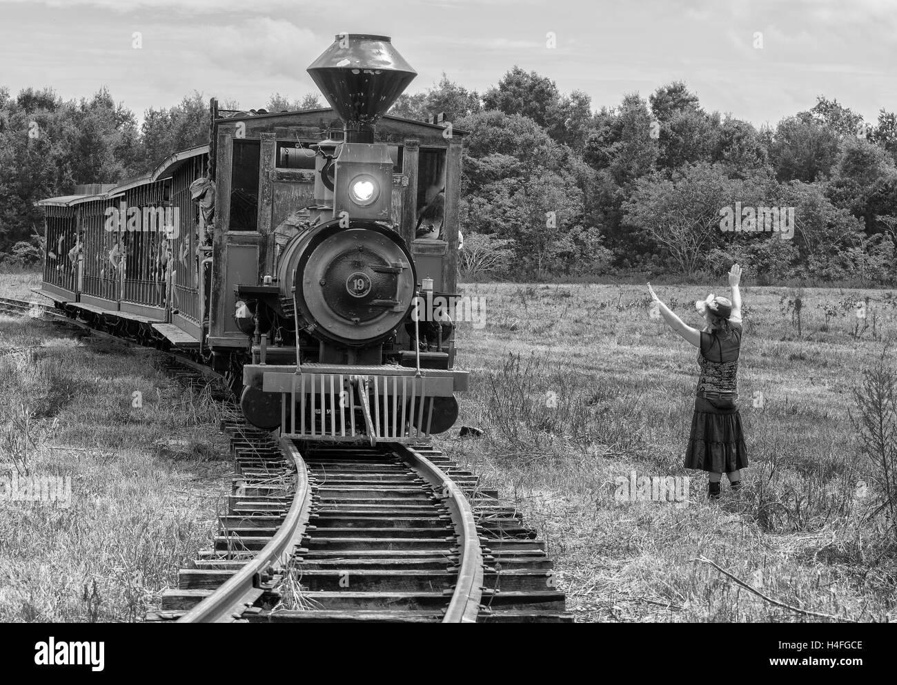 Treno rapina PROMULGAZIONE Foto Stock