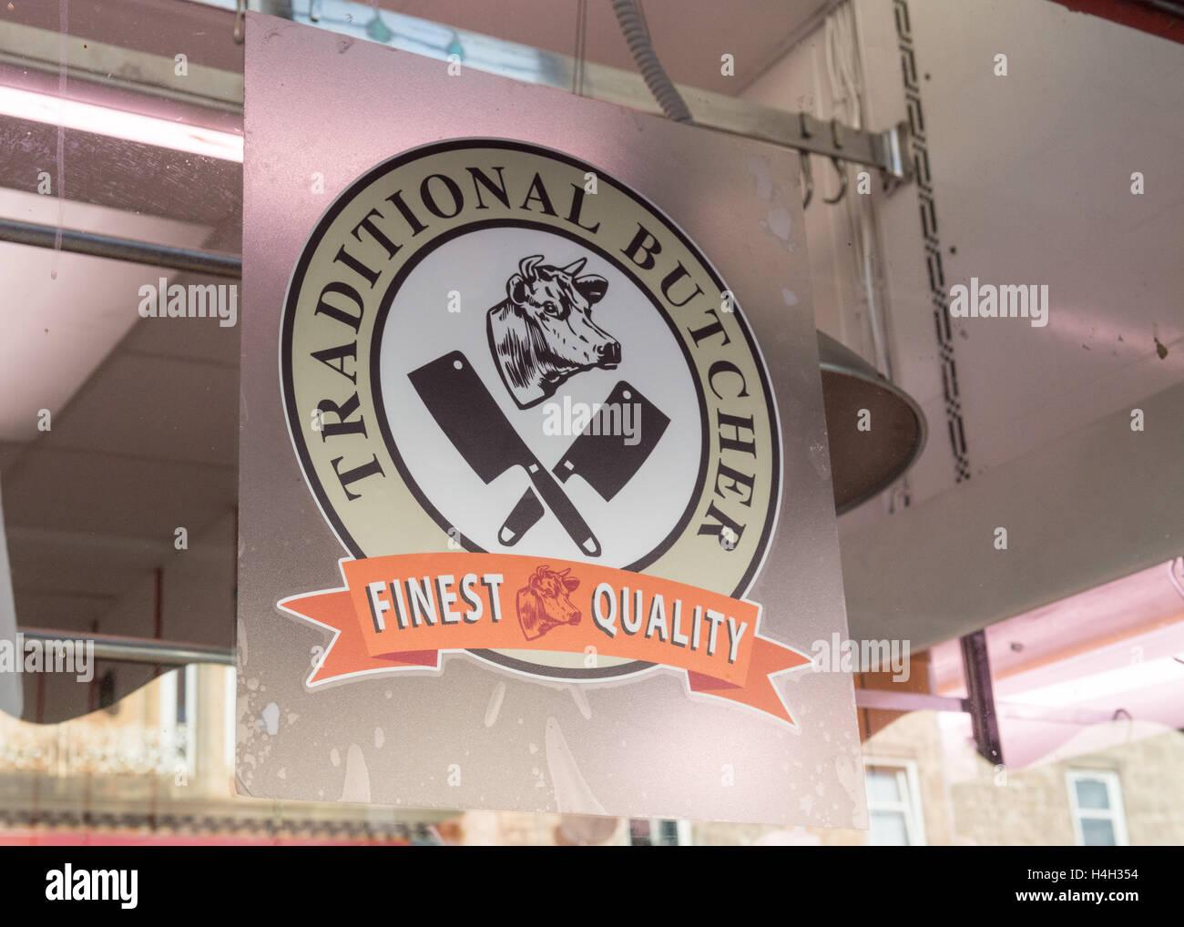 Macelleria tradizionale pubblicità adesivo sul macellai vetrina Immagini Stock