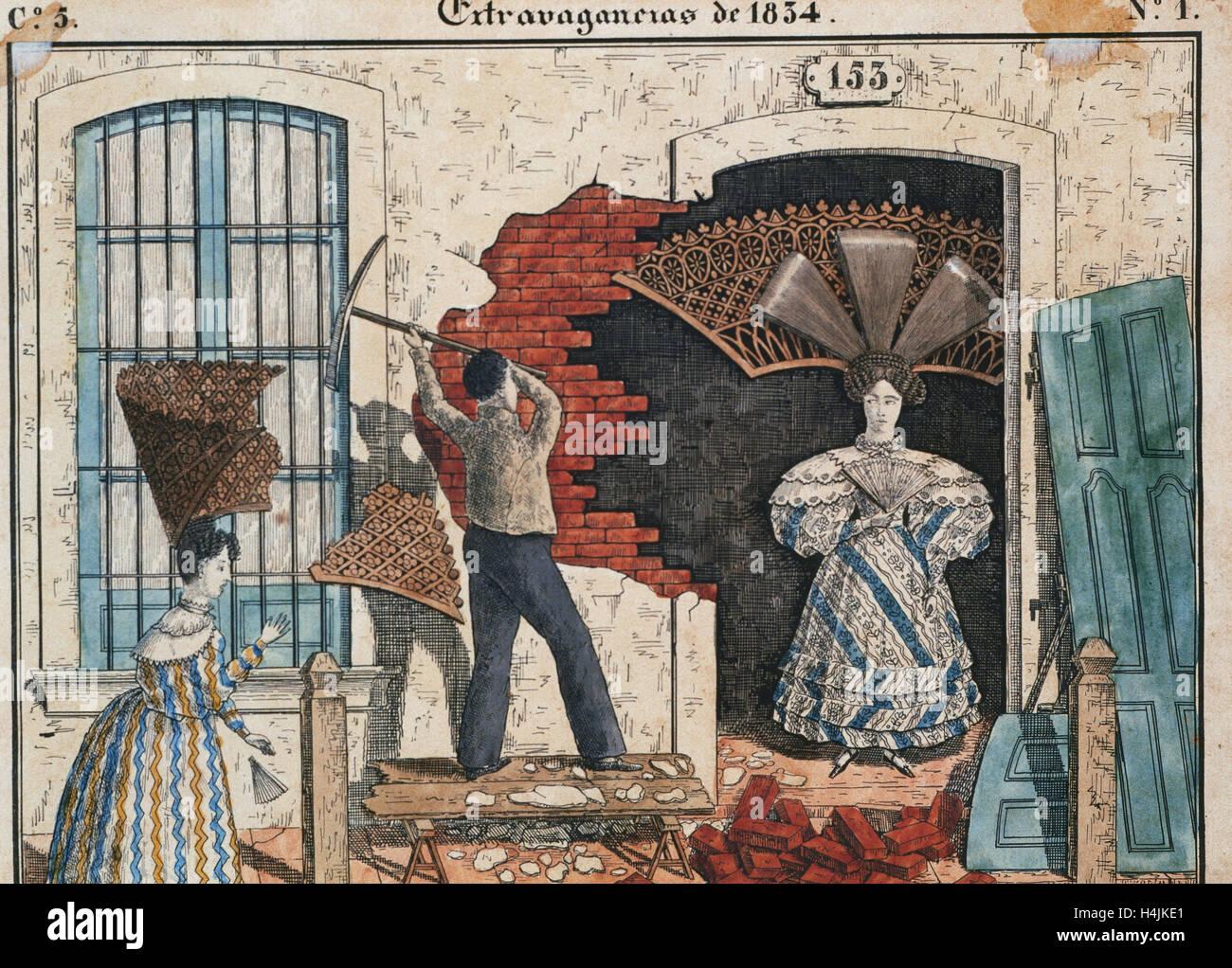 Storia dell'Argentina. Xix secolo. Dogana della nazione. Pettini a casa. La litografia numero 1 della serie Immagini Stock