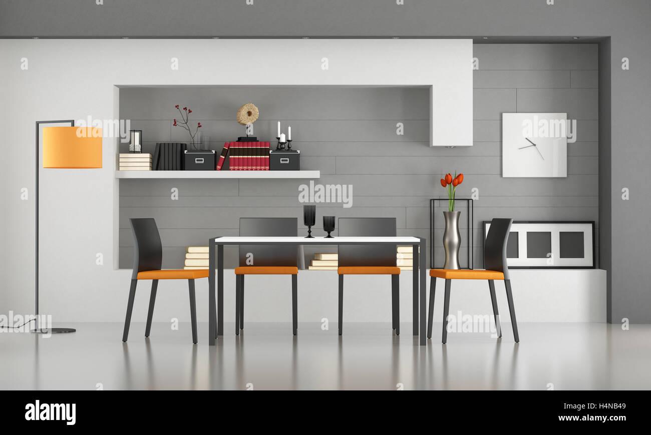 Contemporanea sala da pranzo con tavolo minimalista e sedie