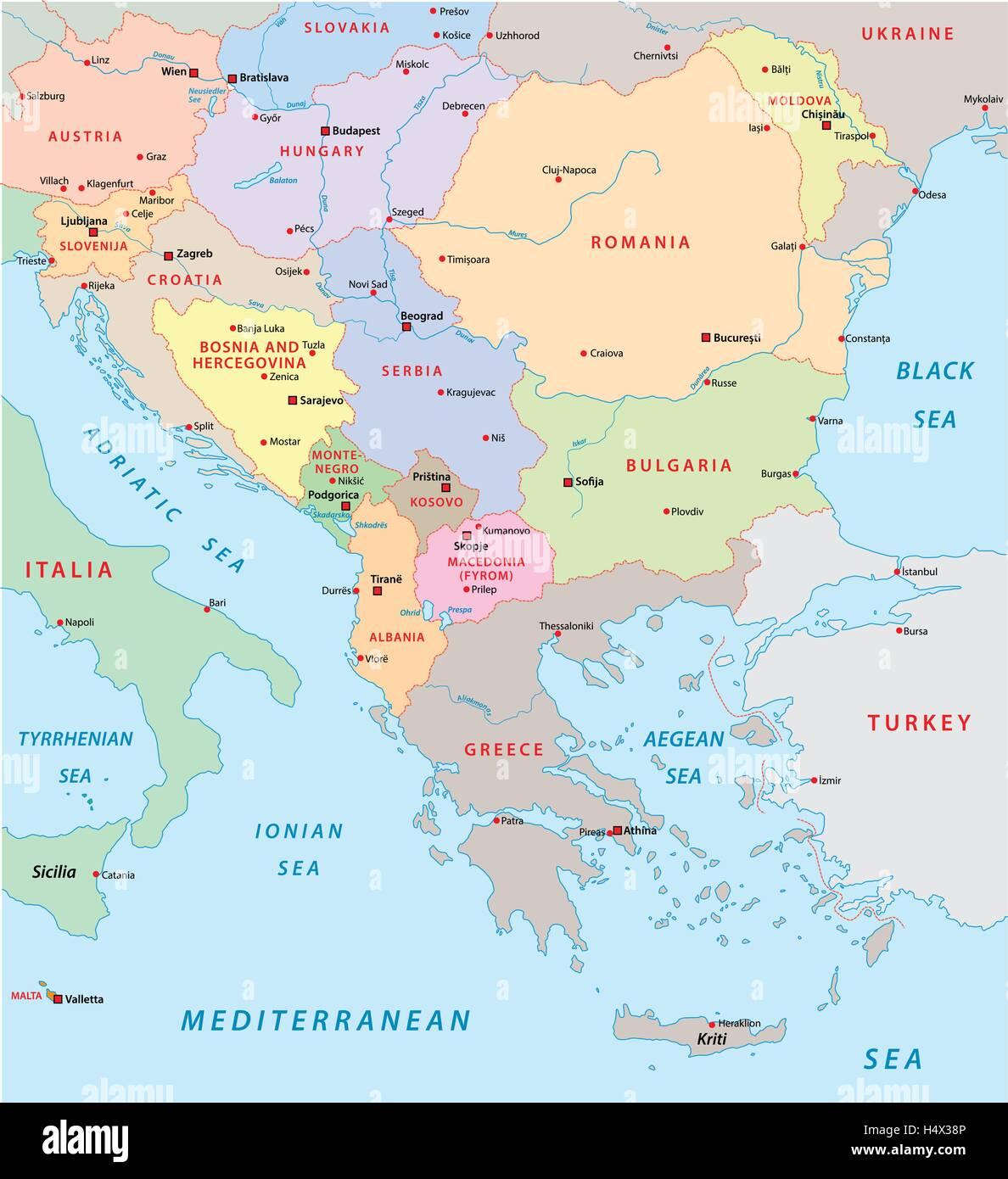 Est Europa Cartina.Sud Est Europa Mappa Illustrazione Vettoriale 123504550 Alamy