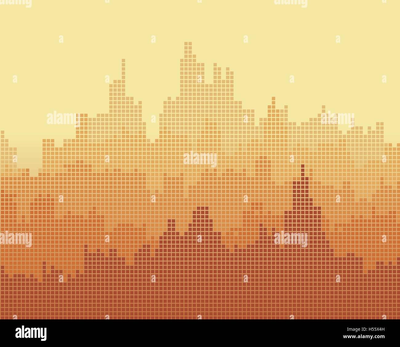 Composizione a mosaico della città, l'effetto di gradiente. Immagini Stock