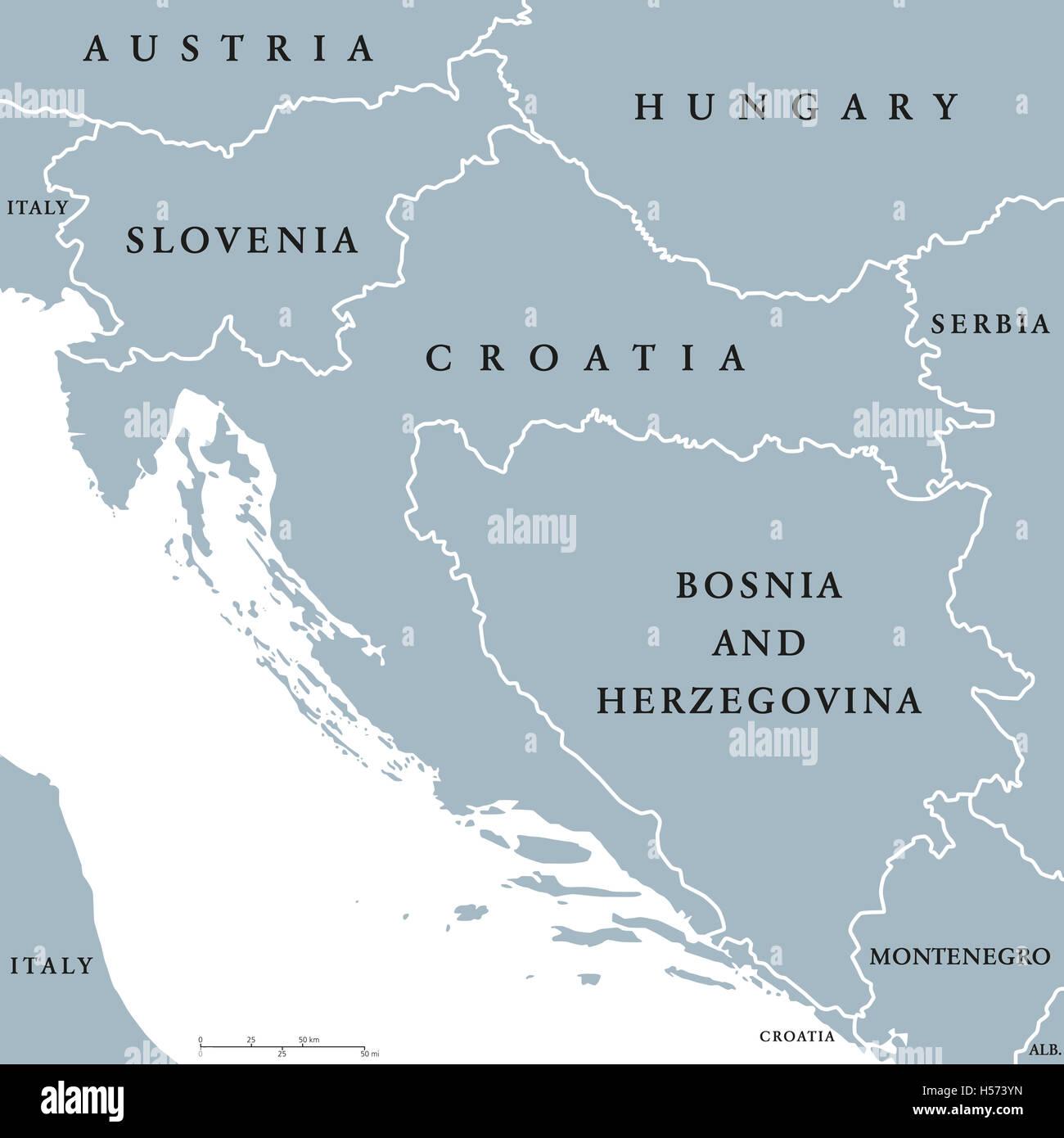 Croazia E Slovenia Cartina Geografica.Paesi Balcanici Mappa Politico Con I Confini Nazionali Paesi Dei Balcani Occidentali Formata Dalla Slovenia Croazia E Bosnia Erzegovina Foto Stock Alamy