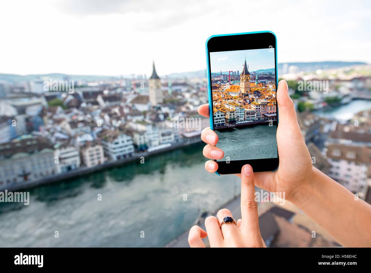 Fotografia paesaggio urbano di Zurigo Immagini Stock