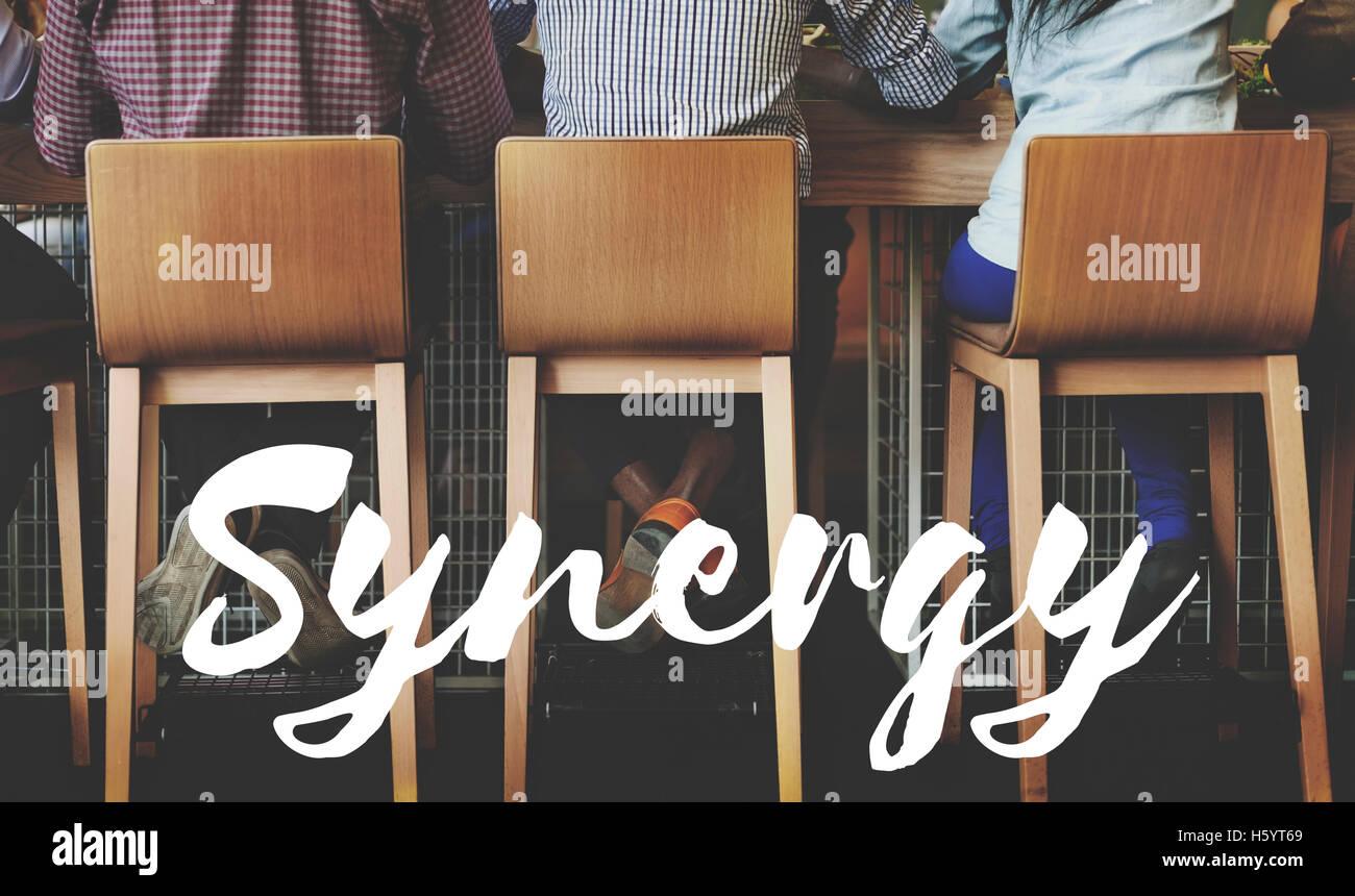 Sinergia Corporation interazione sinergismo Concept Immagini Stock