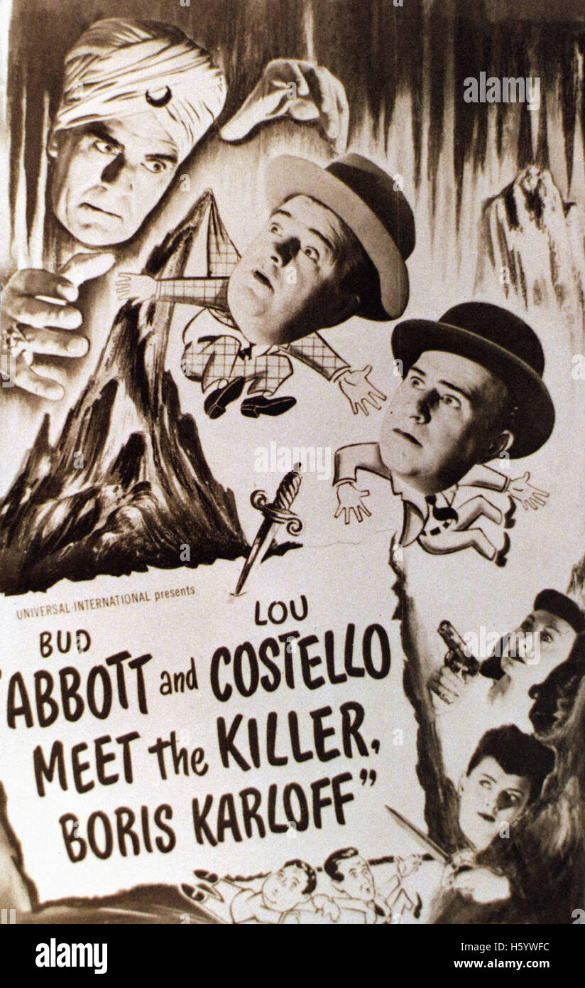 Abbott e Costello Meet the Killer, Boris Karloff - poster del filmato Immagini Stock