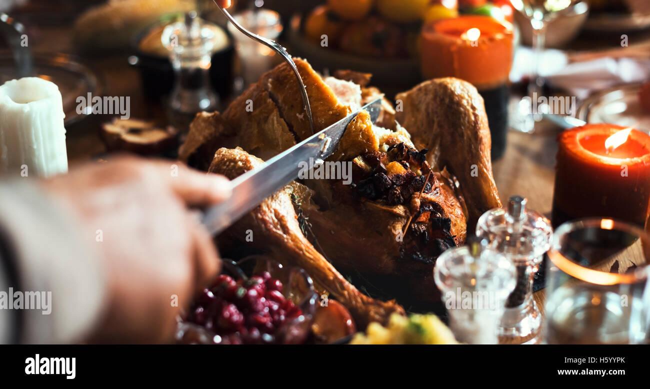 Celebrazione di ringraziamento tradizione familiare il concetto di cena Immagini Stock