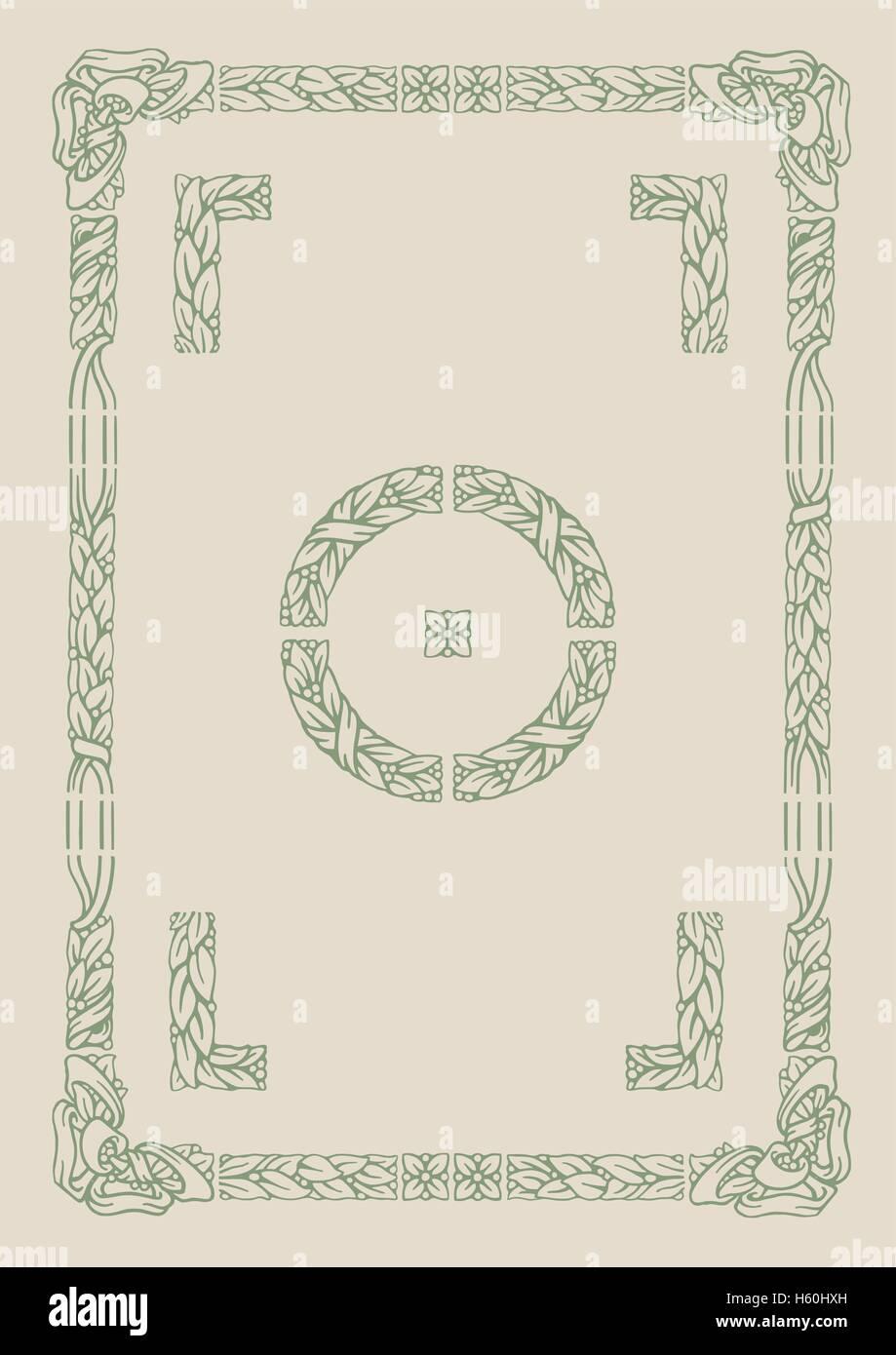 Vecchia tipografia floreali elementi di telaio con angolo alternative e soluzione di confine Immagini Stock