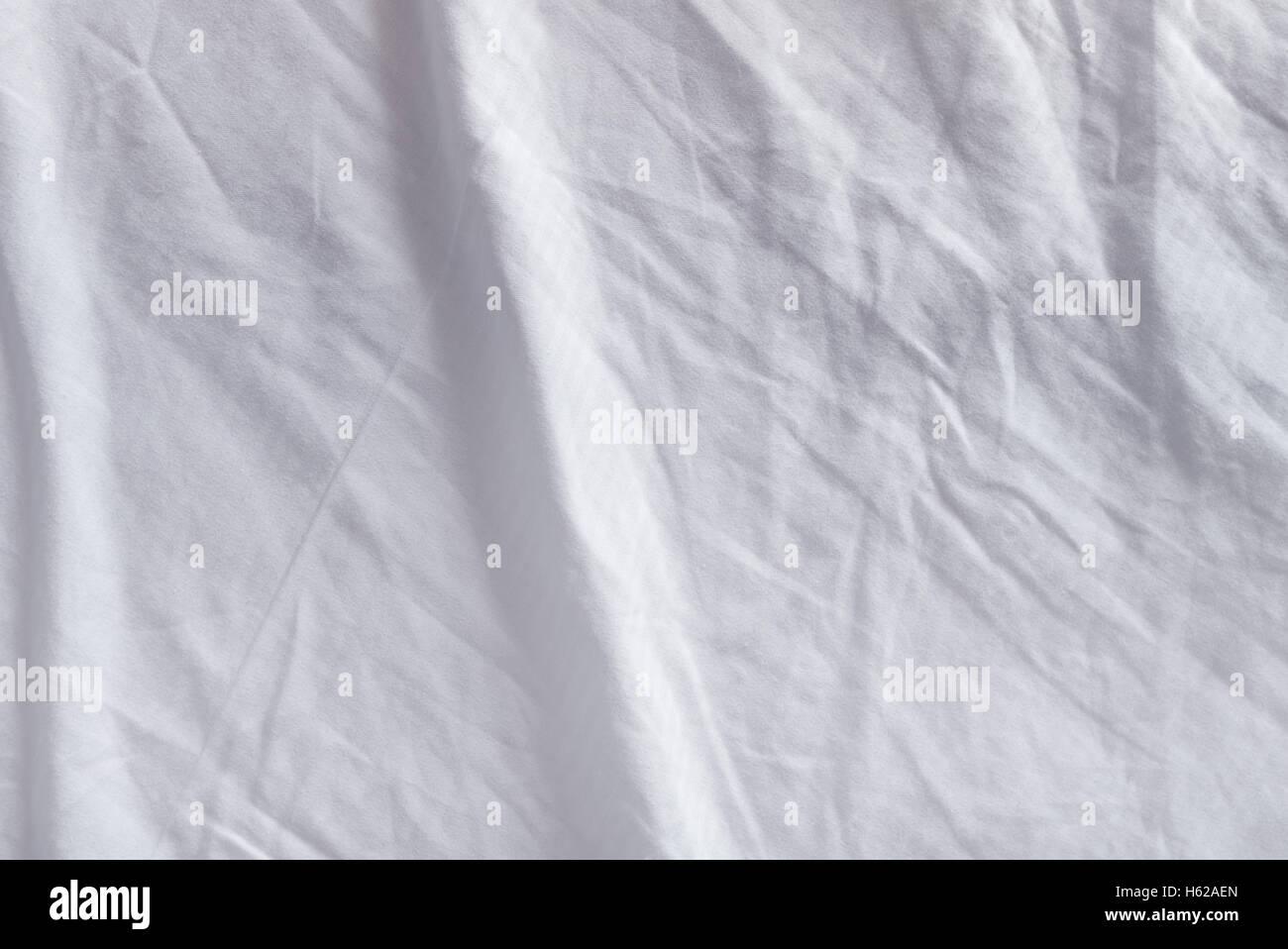 Crumpled texture di biancheria da letto, vista dall'alto di usato lenzuola Immagini Stock