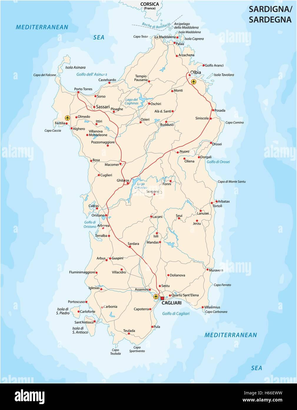 Immagini Della Cartina Geografica Della Sardegna.Mappa Stradale Italiana Di Isola Del Mediterraneo La Sardegna Immagine E Vettoriale Alamy