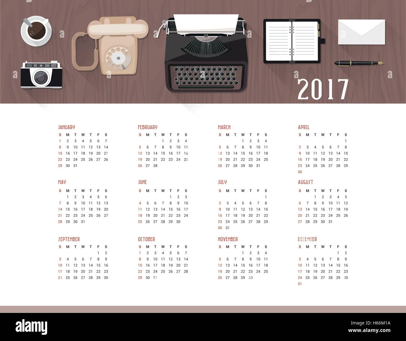 Calendario Business.Calendario Business 2017 Illustrazione Vettoriale 124307942