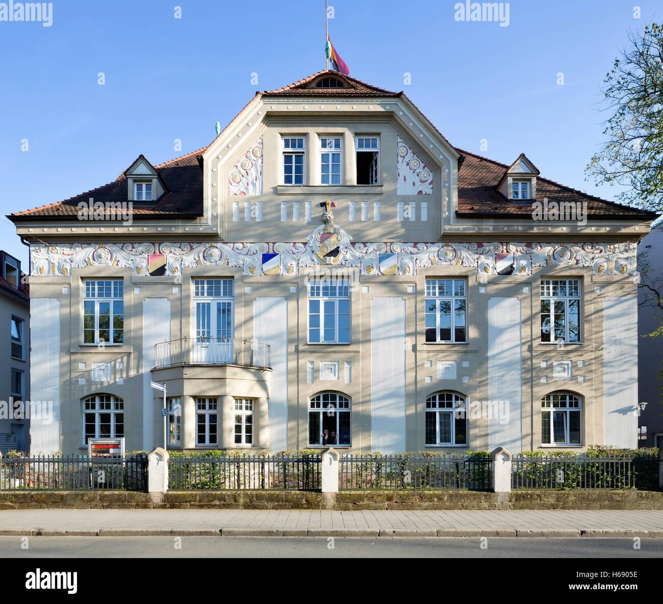 Casa di fraternità Germania o la casa tedesca, Art Nouveau, Erlangen, Media Franconia, Baviera, Germania Immagini Stock