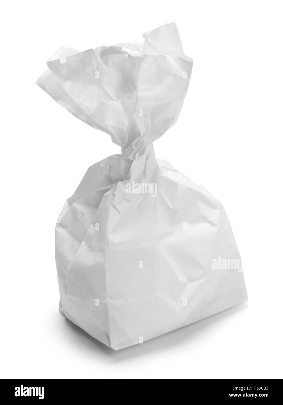 Ritorto pranzo bianco sacca isolata su sfondo bianco. Immagini Stock