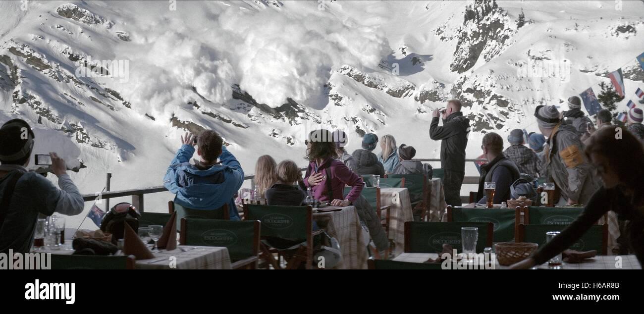 JOHANNES KUHNKE LISA LOVEN KONGSLI CLARA WETTERGREN VINCENT WETTERGREN FORZA MAGGIORE; TURIST (2014) Immagini Stock