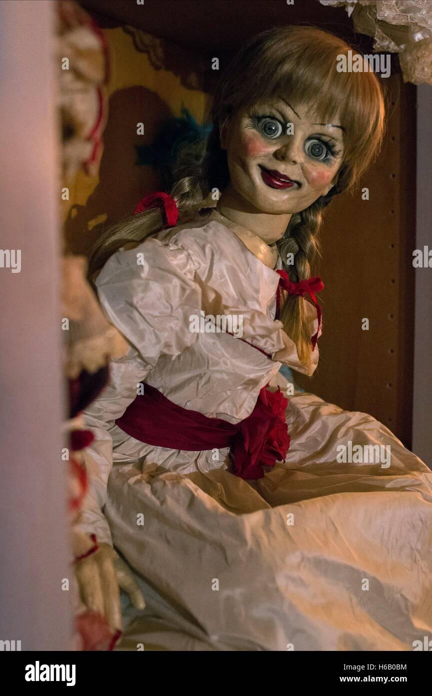 La bambola ANNABELLE (2014) Immagini Stock
