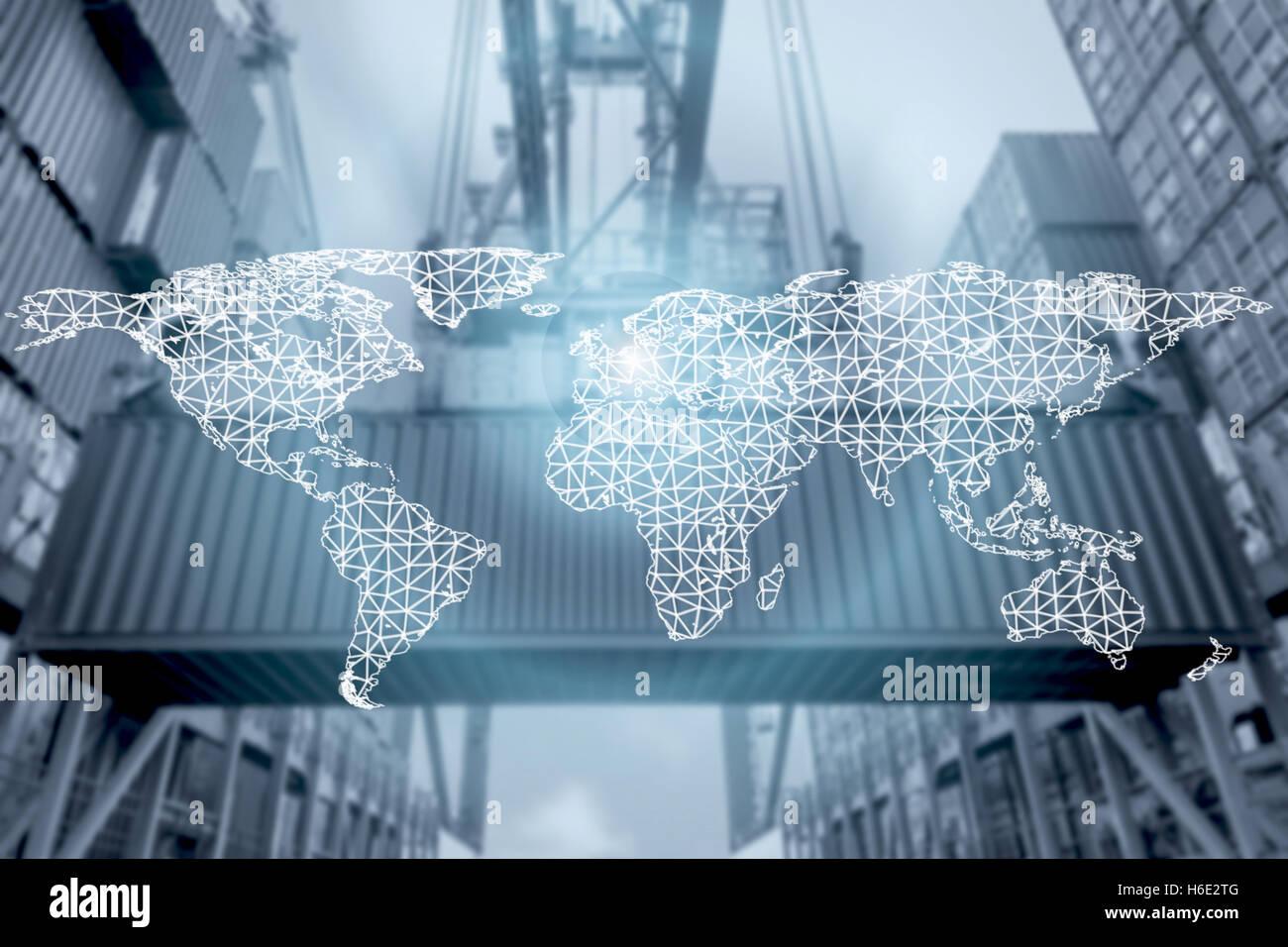 Connessione di rete logistica di partenariato e la mappa del mondo con la porta di connessione background.Network Immagini Stock