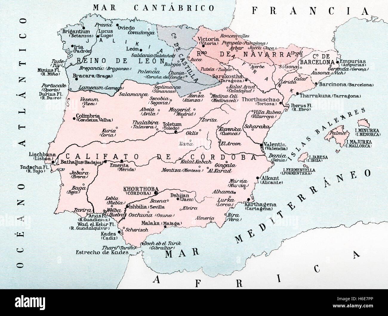 Mappa della Spagna nel medioevo durante l'occupazione musulmana. Immagini Stock