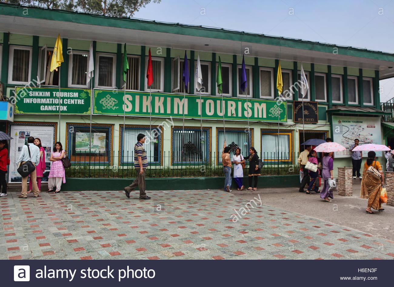 Il Sikkim Turismo ufficio situato sulla rinnovata M.G. Marg area dello shopping sul Mahatma Gandhi Road in Gangtok, Immagini Stock