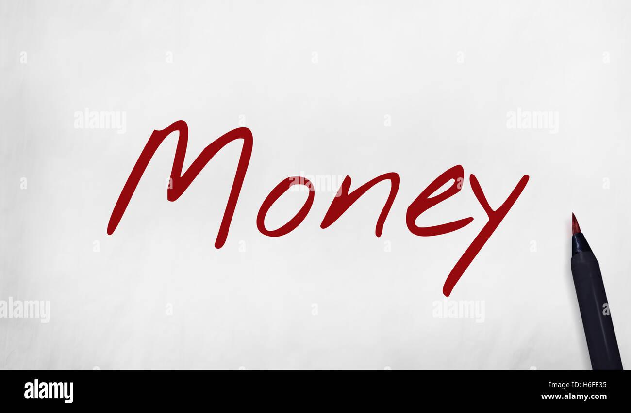 Il denaro di scrittura di parola calligrafia nota nozione Immagini Stock