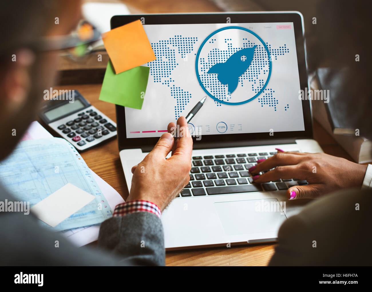 Lancio di avvio nuova crescita aziendale il concetto di successo Immagini Stock