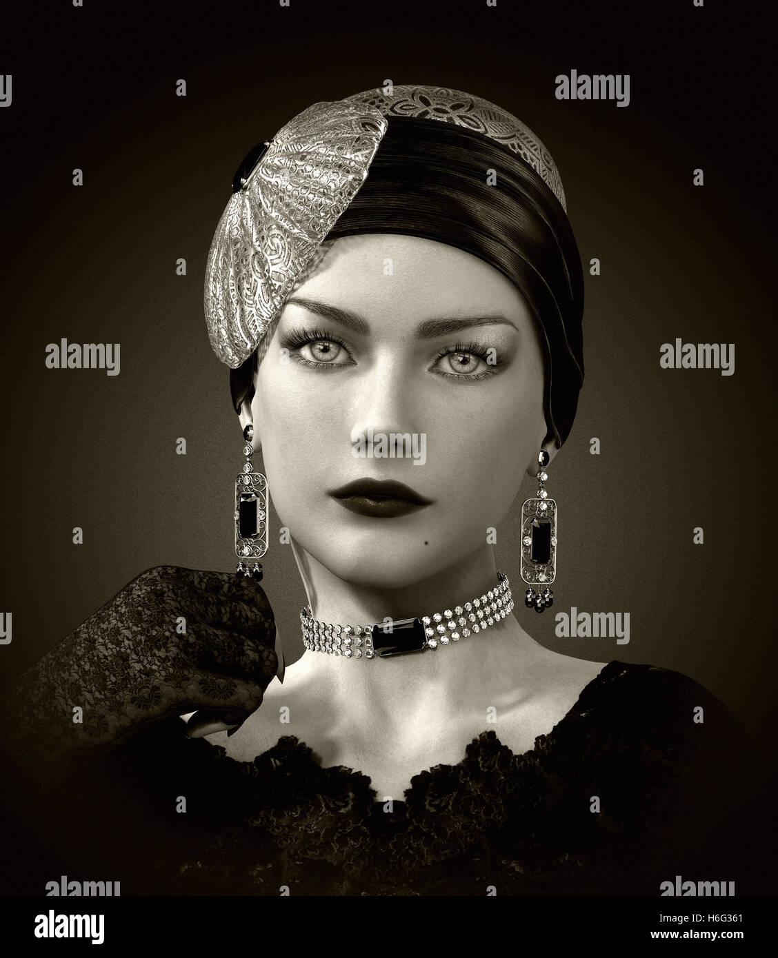 Computer grafica 3d di un ritratto di una giovane donna con elegante coperchio di testa e di gioielli in stile retrò Immagini Stock