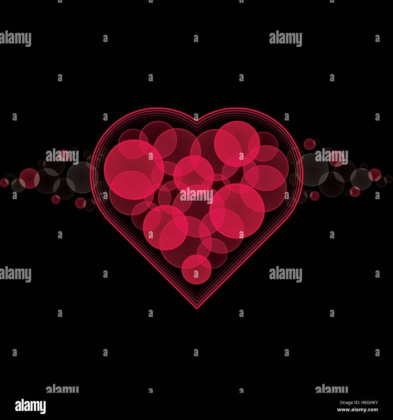 Nero Il Giorno Di San Valentino Card Sfondo Con Cuore Rosso Di Bokeh