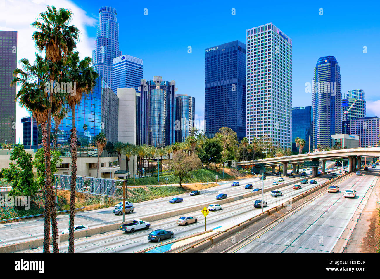 Harbor freeway in Los Angeles downtown Immagini Stock