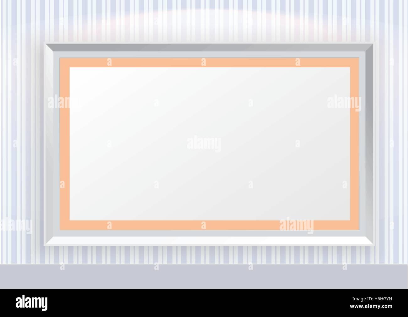A strisce blu modello di linea carta da parati con cornici e la luce spot Immagini Stock