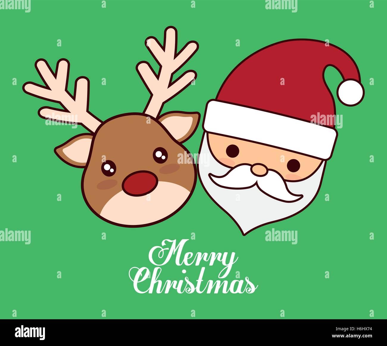 Immagini Natalizie Kawaii.Kawaii Santa E Icona Di Renne Stagione Di Natale Decorazione E La