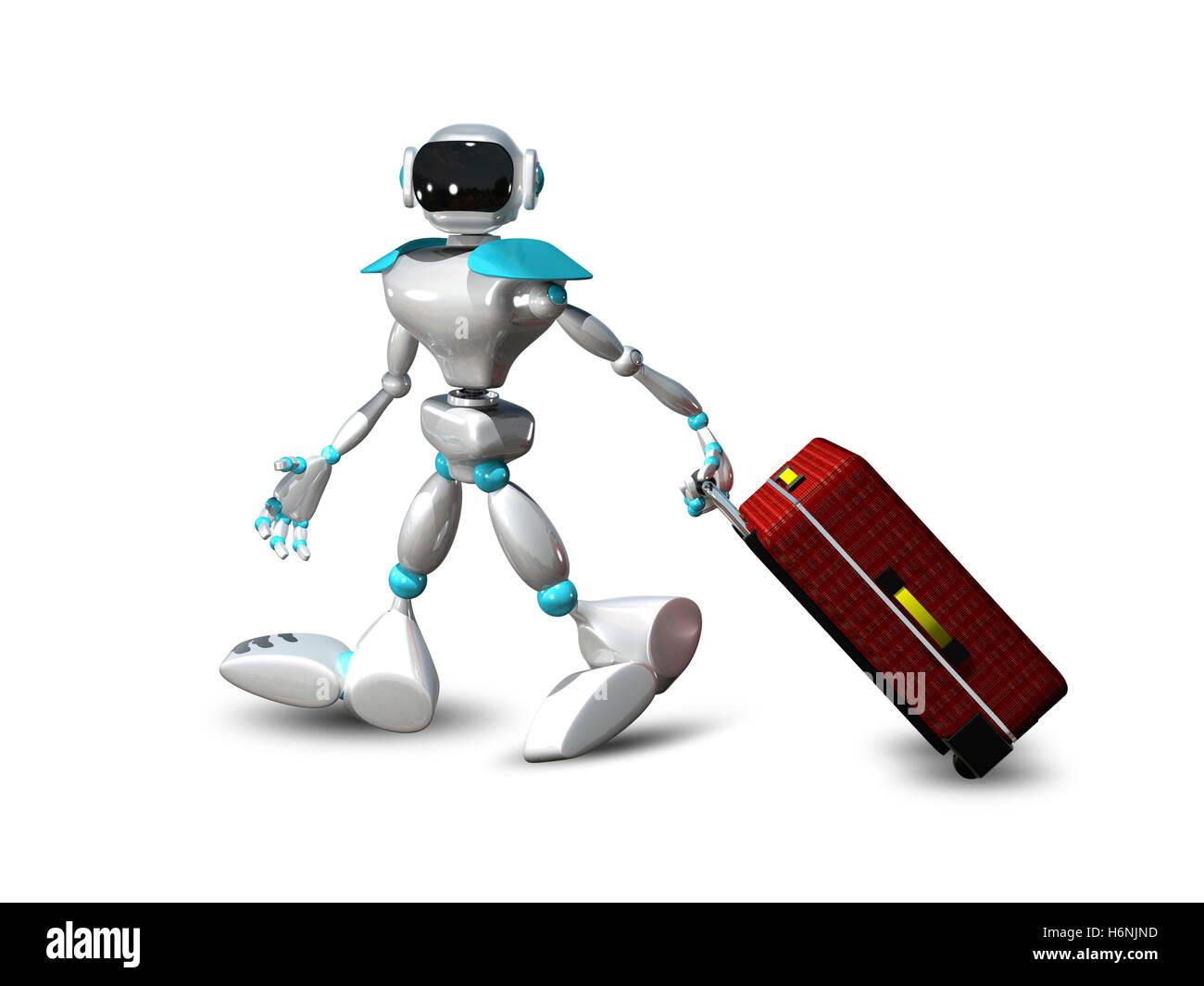 3D illustrazione di un robot con la valigia Immagini Stock