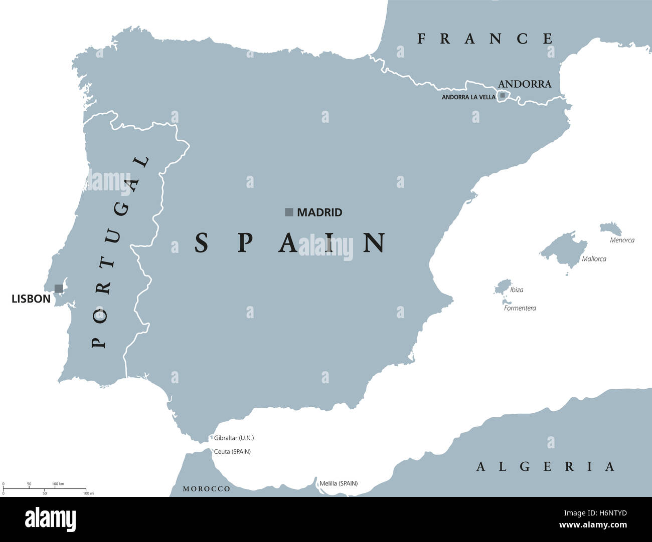 Cartina Geografica Spagna E Formentera.Il Portogallo E La Spagna Mappa Politico Con Capitelli Lisbona E Madrid Le Isole Baleari E Le Frontiere Nazionali Illustrazione Di Grigio Foto Stock Alamy