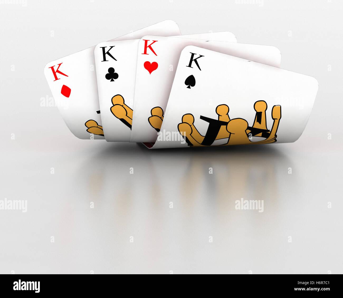 Gioco gioco nei tornei giocando gioca giocato gioco del casino di possibilità di gioco d'azzardo carte Immagini Stock