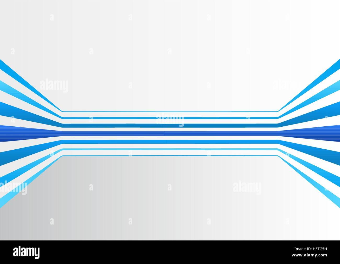 Sfondo generico con più colorate in blu orizzontalmente le linee di espansione formando una camera virtuale Immagini Stock