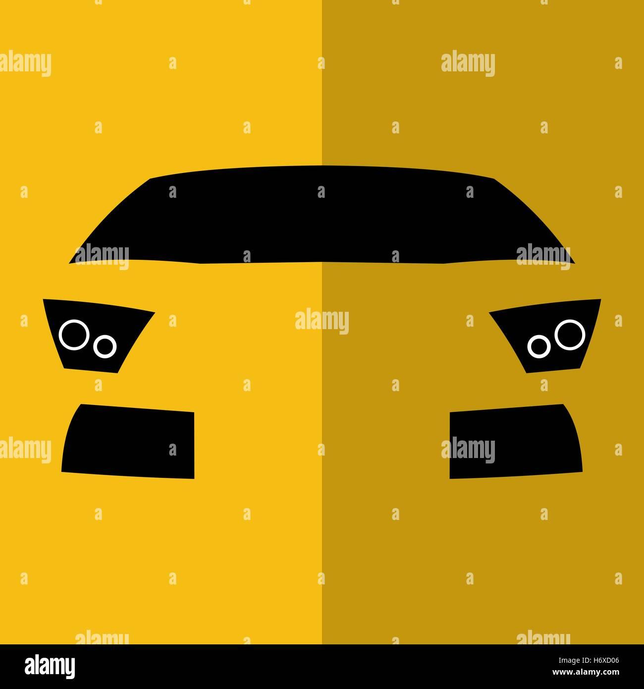Vettore vista frontale giallo auto Immagini Stock