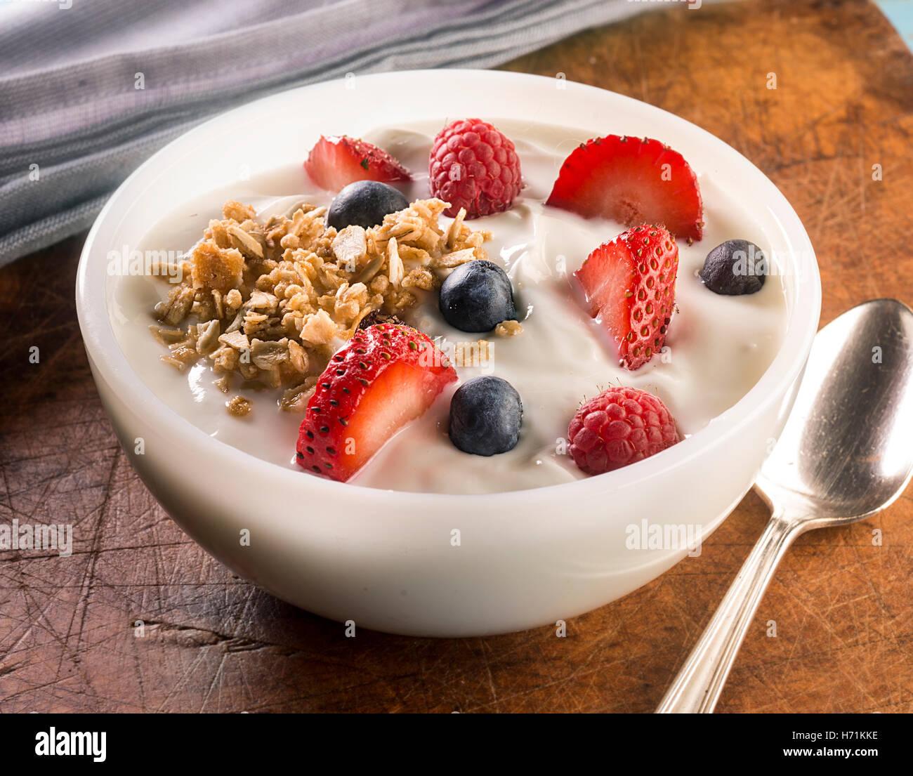 ciotola di yogurt Foto Stock