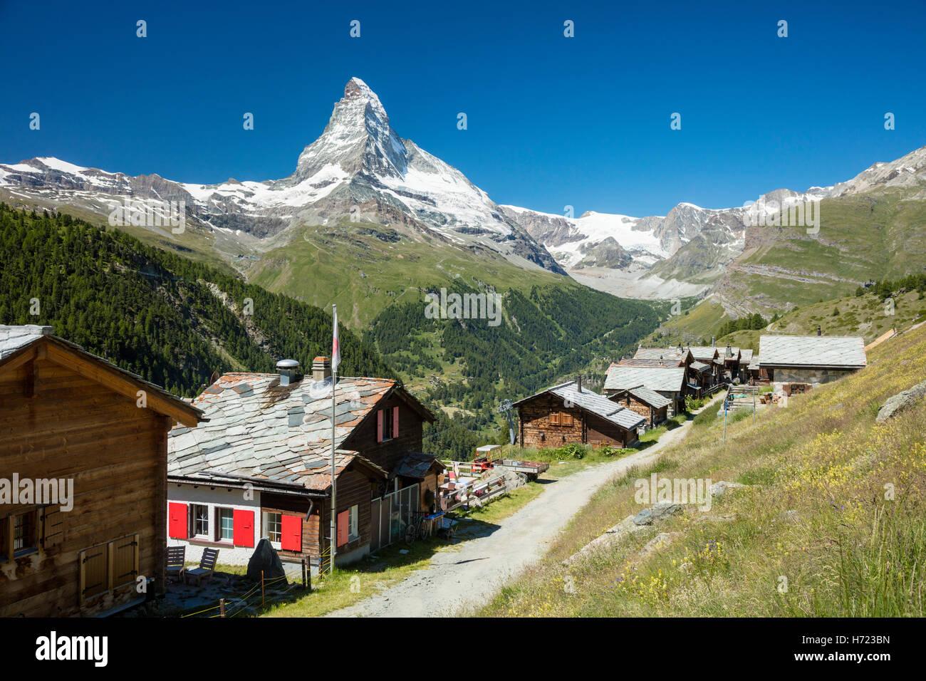 Findeln borgo sotto il Cervino, Zermatt, Pennine, Vallese, Svizzera. Foto Stock