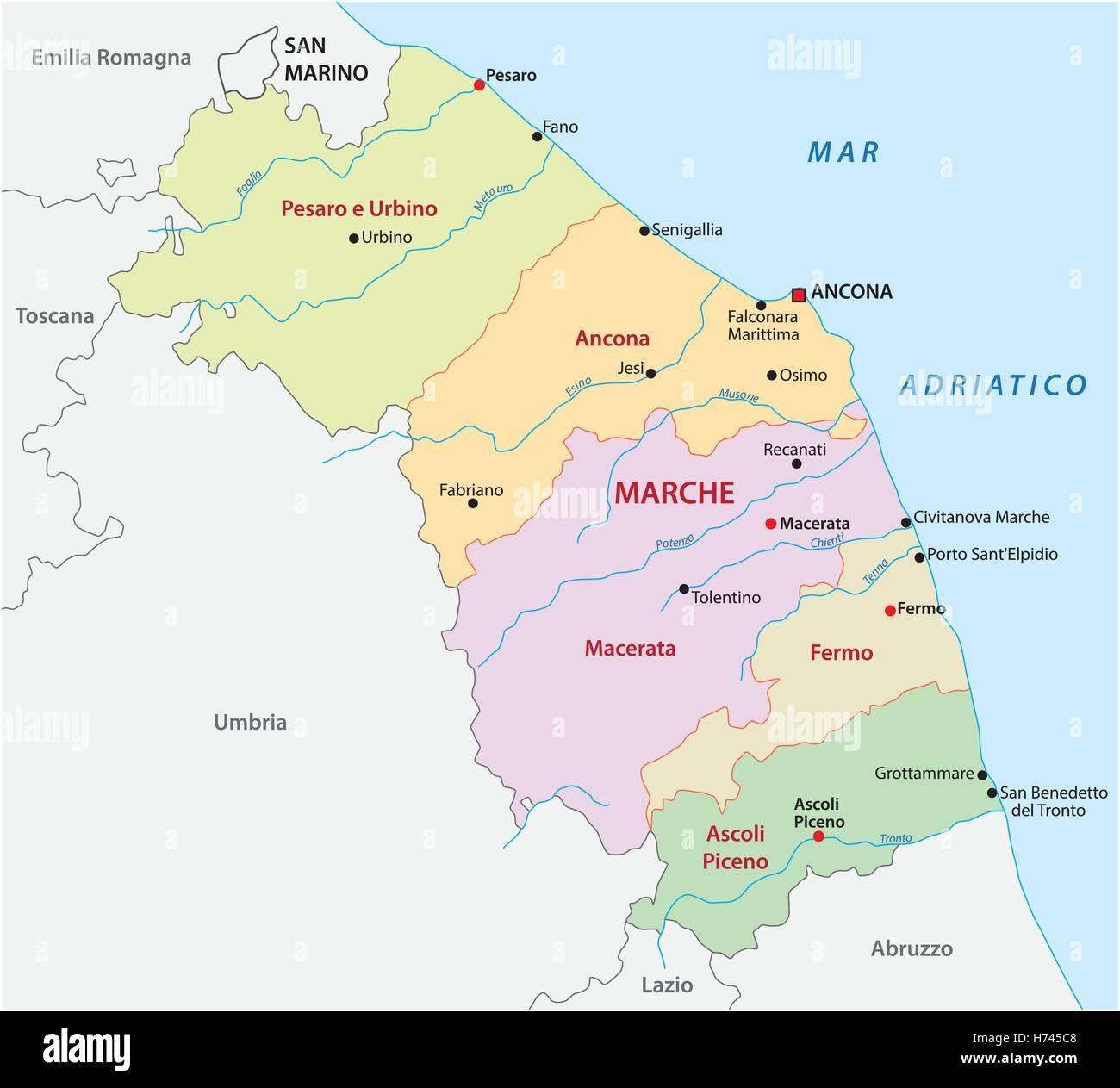 Le Marche Cartina Politica.Politica E Amministrativa Di Mappa Di Italia La Regione Marche Immagine E Vettoriale Alamy