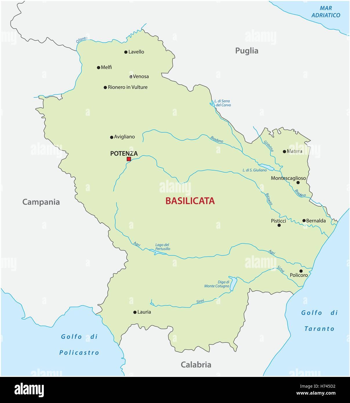 Lavello Potenza Cartina Geografica.Mappa Di Basilicata Immagine E Vettoriale Alamy