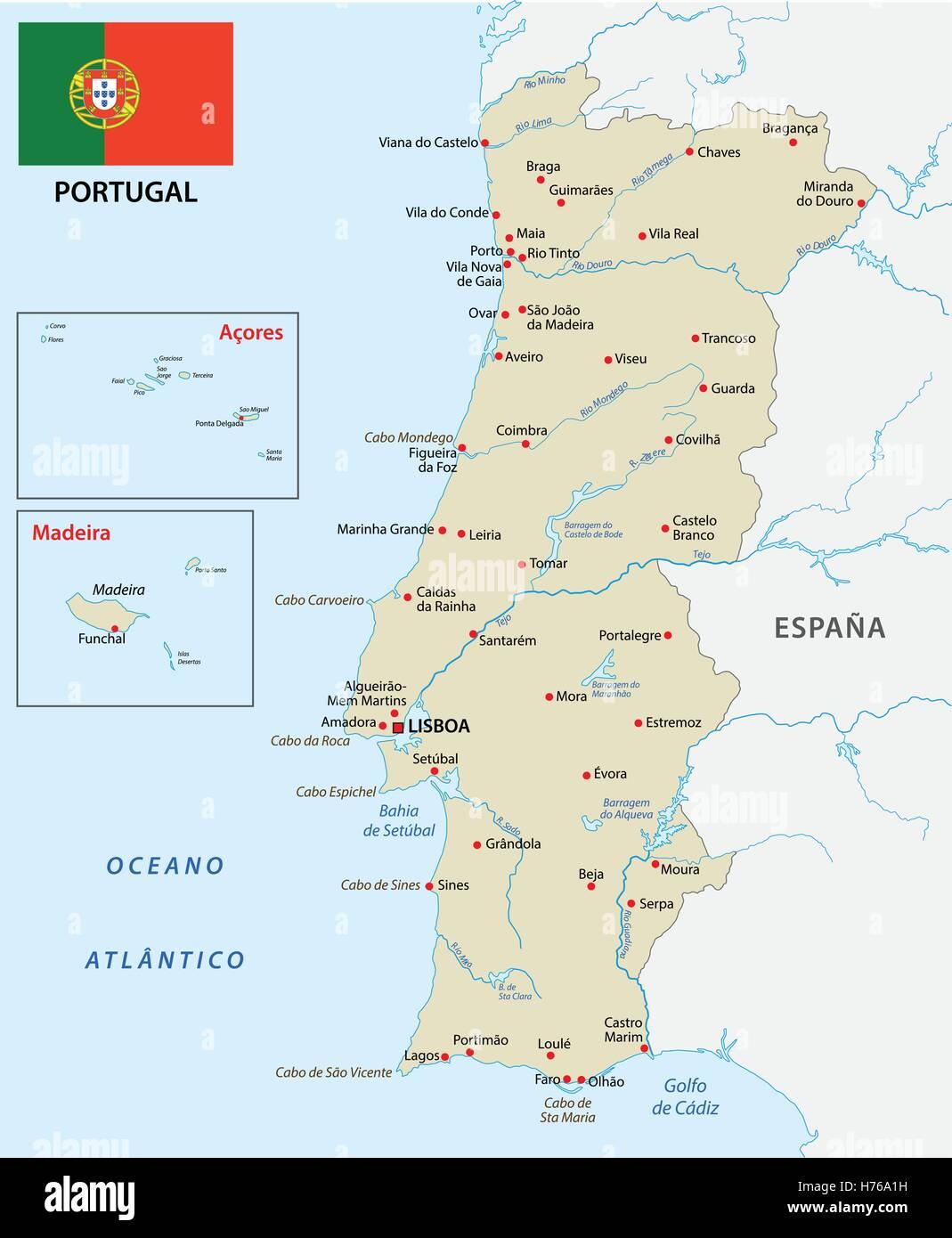 Cartina Geografica Portogallo E Isole.Mappa Portogallo Con Bandiera Immagine E Vettoriale Alamy