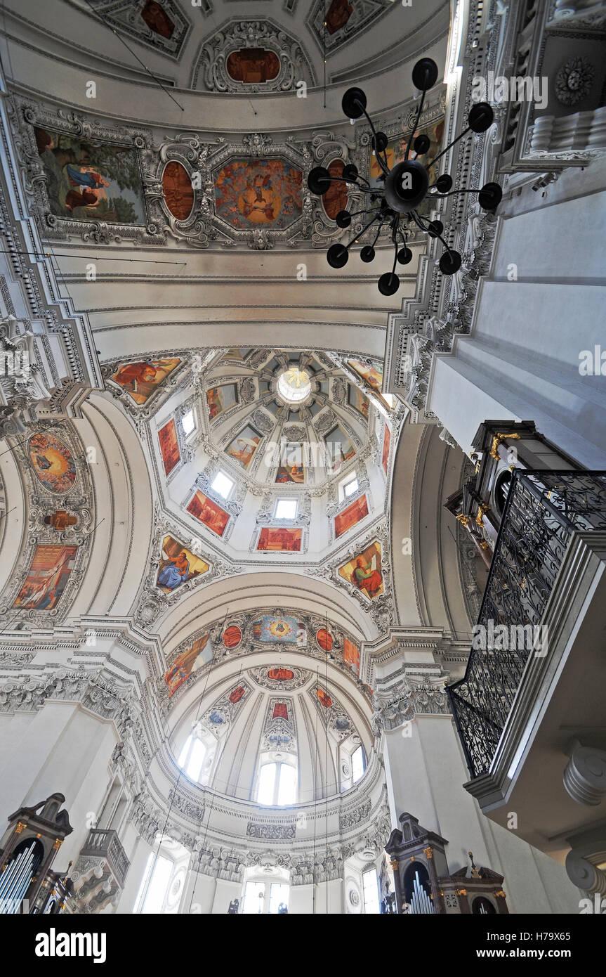 Il duomo di Salisburgo a soffitto, Austria Immagini Stock
