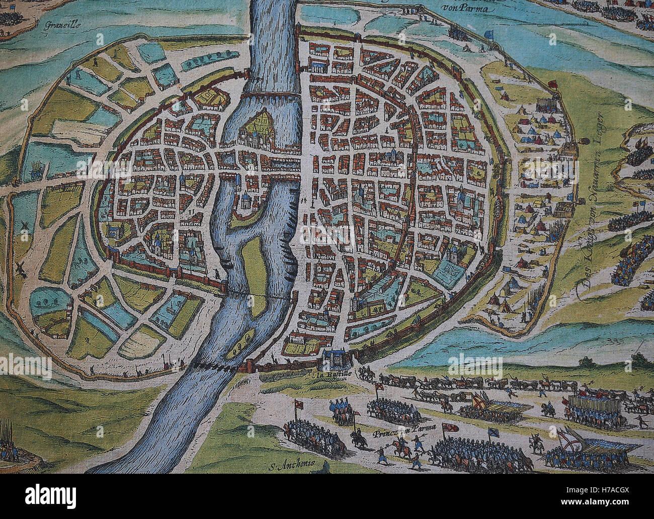 Il francese guerre di religione. L'assedio di Parigi di Enrico IV, Agosto 1590. Immagini Stock