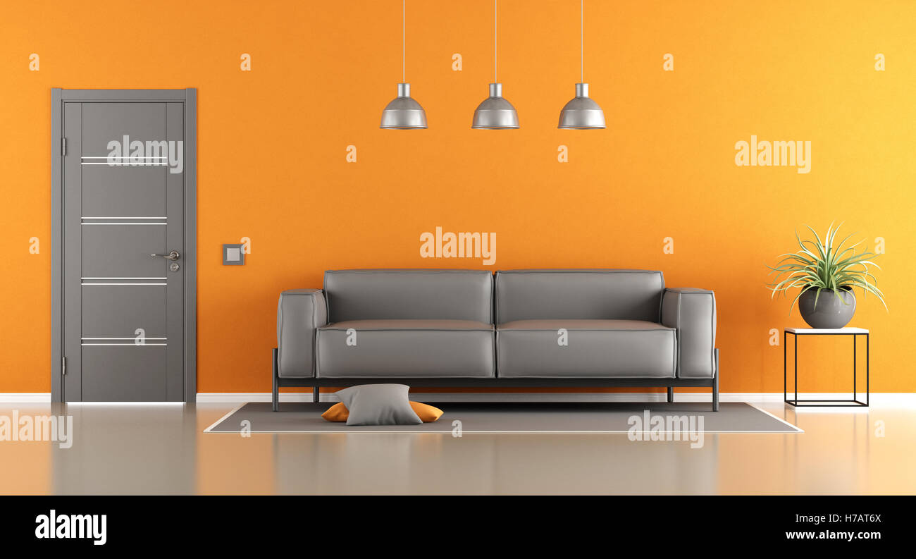 Grigio e arancione soggiorno con divano moderno e porta ...