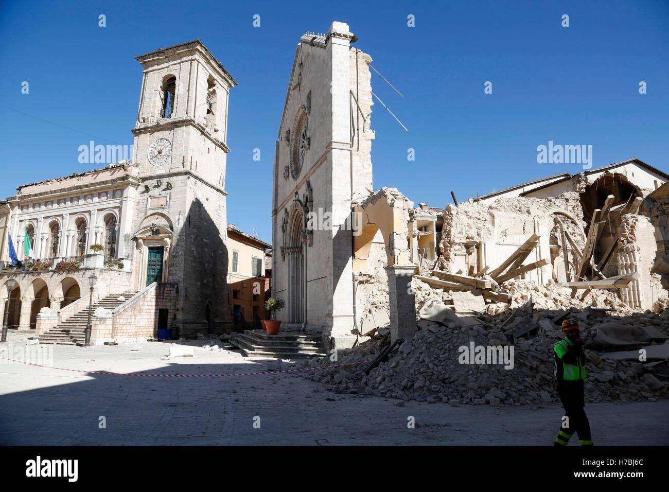 Norcia (Perugia) 6.5 grandezza terremoto che ha colpito l'Italia centrale di domenica 30 ottobre, che non provoca Immagini Stock