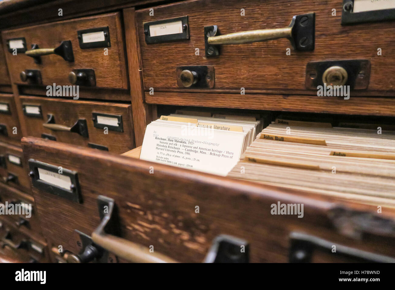 Biblioteca Catalogo carta, STATI UNITI D'AMERICA Immagini Stock